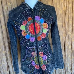 RISING INTERNATIONAL EMBROIDERED HOODIE SZ S
